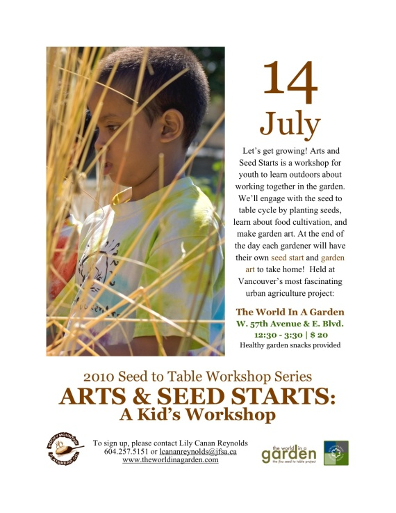 Arts & Seed Starts: A Kid's Workshop July 14th