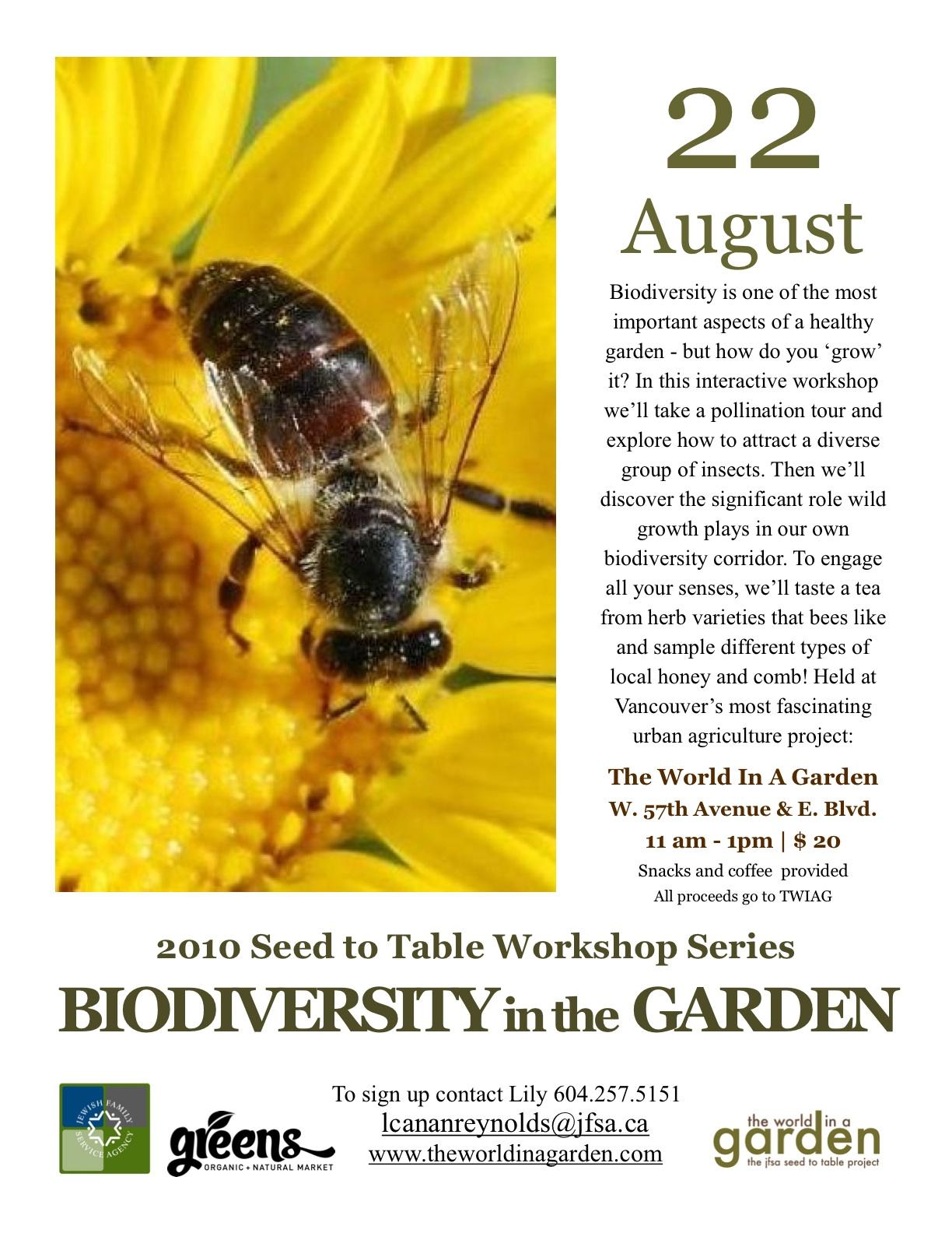 Biodiversity in the Garden Workshop