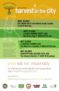 Four part workshop series that brings the harvest to your plate